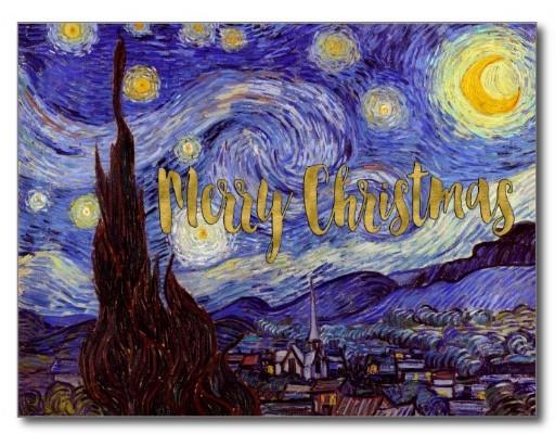 van_gogh_starry_night_gold_faux_foil_christmas_postcard by artfoxx